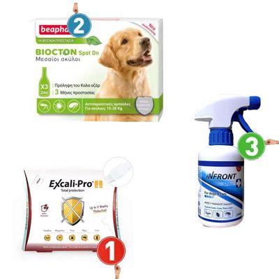 Αντιπαρασιτικές αμπούλες ( 15-30kg ) + Αντιπαρασιτικό περιλαίμιο ( 49cm ) + Απωθητικό Spray ( 375ml  )