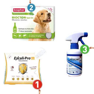 Αντιπαρασιτικές αμπούλες ( 15-30kg ) + Αντιπαρασιτικό περιλαίμιο ( 69cm ) + Απωθητικό Spray ( 375ml )
